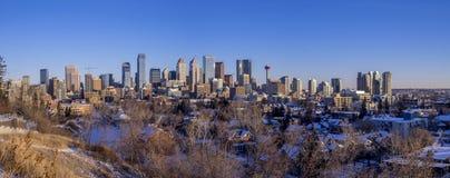 Calgary ` s linia horyzontu przy wschodem słońca Obraz Stock