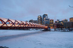 Calgary's Peace Bridge and skyline at night Stock Images
