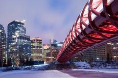 Calgary's Peace Bridge and skyline at night Stock Photography