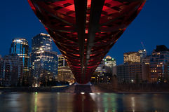 Calgary's Peace Bridge and skyline at night Royalty Free Stock Photography