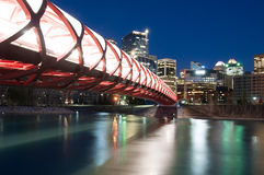 Calgary's Peace Bridge and skyline at night Royalty Free Stock Image