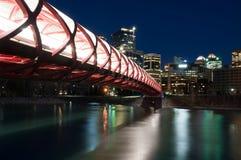 Calgary's Peace Bridge and skyline at night Royalty Free Stock Photo