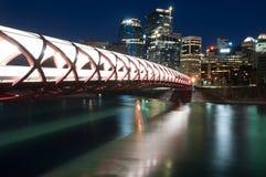Calgary's Peace Bridge and skyline at night Royalty Free Stock Image