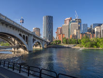 Calgary's skyline. On a beautiful spring day. Calgary is the corporate centre of the oil industry in Canada Stock Photos