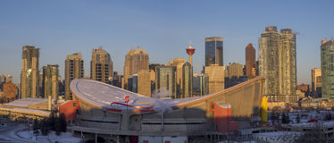 Calgary-` s Skyline bei Sonnenaufgang Lizenzfreie Stockfotografie