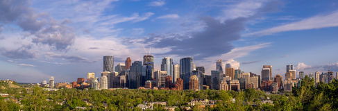 Calgary's skyline. With the Bow River valley and city in the foreground Royalty Free Stock Photos