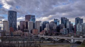 Calgary`s skyline stock footage