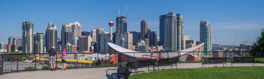 Calgary's skyline with the Scotiabank Saddledome Royalty Free Stock Photos