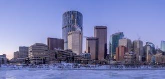 Calgary`s skyline at sunrise Royalty Free Stock Image