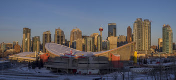 Calgary`s skyline at sunrise Stock Photos