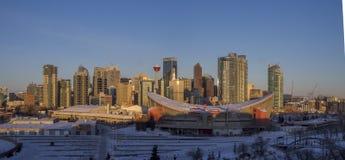 Calgary`s skyline at sunrise Royalty Free Stock Images