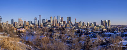 Calgary`s skyline at sunrise Stock Image