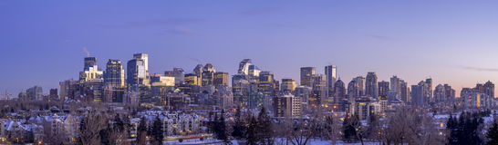 Calgary`s skyline at sunset Royalty Free Stock Photo