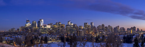 Calgary`s skyline at sunset Royalty Free Stock Photography