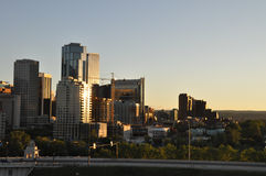 Calgary Skyline. Sunset over the Eau Claire district of Calgary Alberta Stock Images