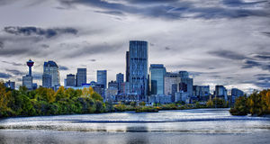 Calgary Skyline. An example of High Dynamic Range imaging process. Image taken in the late afternoon in October 2011 Royalty Free Stock Images