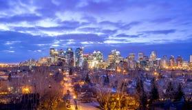 Calgary-Skyline bei Sonnenaufgang Stockfotografie