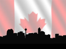 Calgary skyline with Canadian Flag Stock Photos