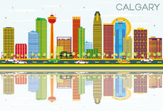 Calgary Skyline with Color Buildings, Blue Sky and Reflections. Vector Illustration. Business Travel and Tourism Concept with Modern Architecture. Image for Stock Illustration