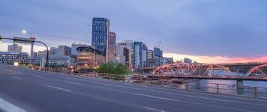 Calgary skyline at night Stock Photos