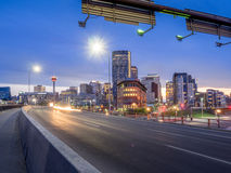 Calgary skyline at night Royalty Free Stock Photos