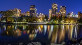 Calgary skyline at night Stock Images