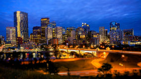 Calgary Skyline at Night Royalty Free Stock Photos