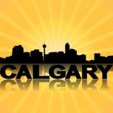 Calgary skyline reflected with sunburst Stock Photo