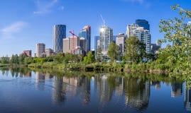 Calgary-Skyline reflektiert in einem Sumpfgebiet Stockfotografie