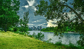 Calgary skyline seen from Bow River stock images