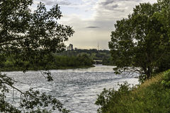 Calgary skyline. Seen from Bow River royalty free stock image