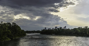 Calgary skyline. Seen from Bow River stock photography