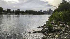 Calgary skyline seen from Bow River. Calgary skyline seen from the Bow River banks Stock Photography