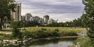 Calgary skyline seen from Bow River. At Prince`s Island Park stock image
