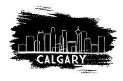Calgary Skyline Silhouette. Hand Drawn Sketch. Vector Illustration. Business Travel and Tourism Concept with Modern Buildings. Image for Presentation Banner stock illustration
