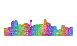 Calgary skyline silhouette - multicolor line art. Calgary city skyline silhouette - multicolor line art Stock Image
