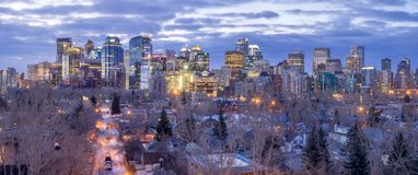 Calgary skyline at sunrise Stock Images