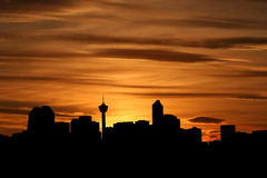 Calgary skyline at sunset Royalty Free Stock Photography