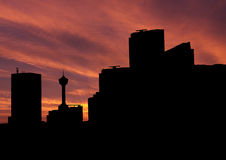 Calgary skyline at sunset Stock Photography