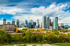 Calgary Skyline. View of downtown in Calgary. There is sunny and warm temperature because this weather is fall season Stock Photography