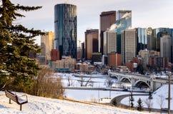Calgary Skyline on a Winter Evening Stock Photo