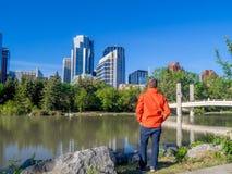 Calgary-Skylinepanorama Stockfotografie