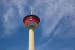 Calgary Tower. Calgary tourist attraction with dramatic revolving restaurant for those city views stock photo