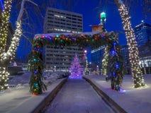 Calgary am Weihnachten Stockbild