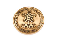 Calgary 1988 Winter Olympic Games Participation medal reverse Kouvola Finland 06.09.2016. Calgary 1988 Winter Olympic Games Participation medal reverse Kouvola Stock Image