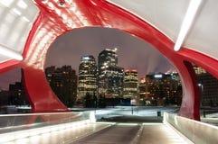 Calgarys fred överbryggar och horisont på natten royaltyfri fotografi