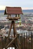 Calha de alimentação de madeira velha para pássaros Imagem de Stock