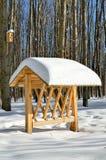 Calha de alimentação para animais de alimentação na floresta no inverno Foto de Stock