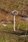 Calha de madeira para pássaros Fotografia de Stock Royalty Free