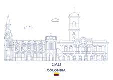 Cali City Skyline Colombia Royaltyfri Bild